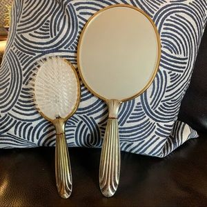 Vtg. Brass hand mirror with brush set made in USA